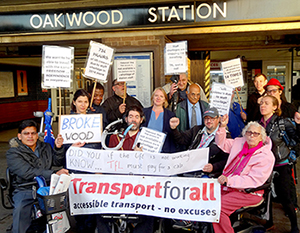 Picture of tfa members protesting in front of oakwood station