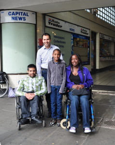 Wheelchair users and councillor at greenford station
