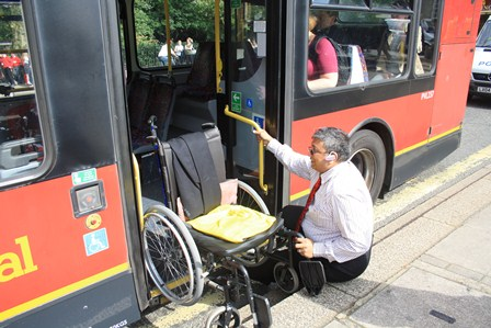 Adam gets on bus