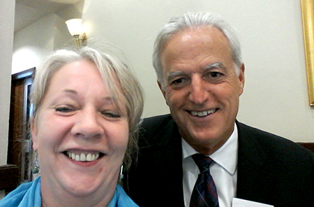 Selfie of marion nisbet with tim o'toole, the first group chief executive