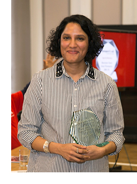 Picture of faryal velmi with the award