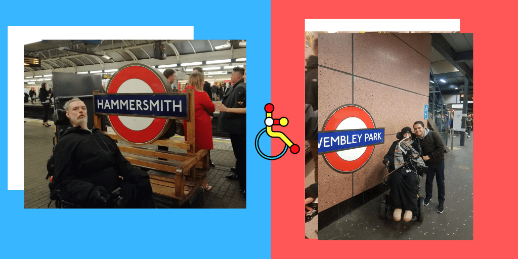 2 photos. On the left, Alan in his wheelchair next to an underground station roundel. On the right, Jon in his wheelchair next to another station roundel.