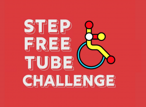 Step Free Tube Challenge - white bubble text on a red background next to an illustration of a wheelchair user made to look like the icons on a Tube Map.