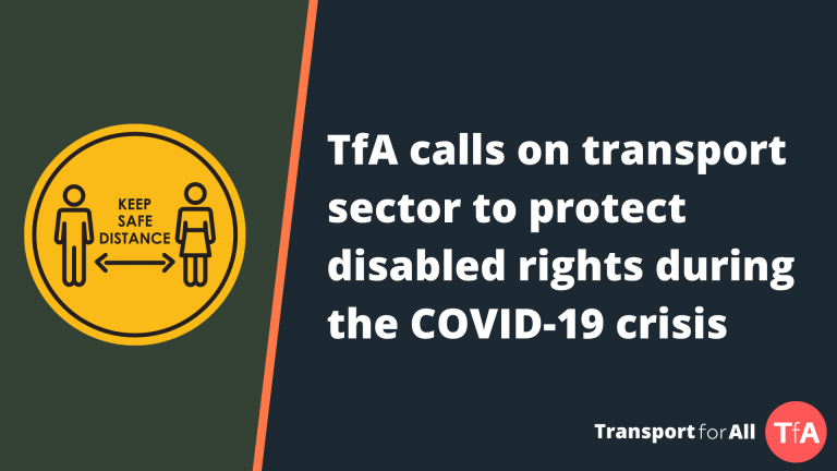 TfA calls on transport sector to protect disabled rights during the COVID-19 crisis. Next to yellow illustration demonstrating social distancing.