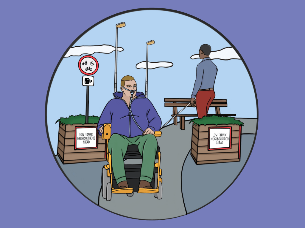 Illustration of a disabled man in electric wheelchair with a ventilator wheeling through a Low Traffic Neighbourhood, while a visually impaired man walks past with a long cane in the background.