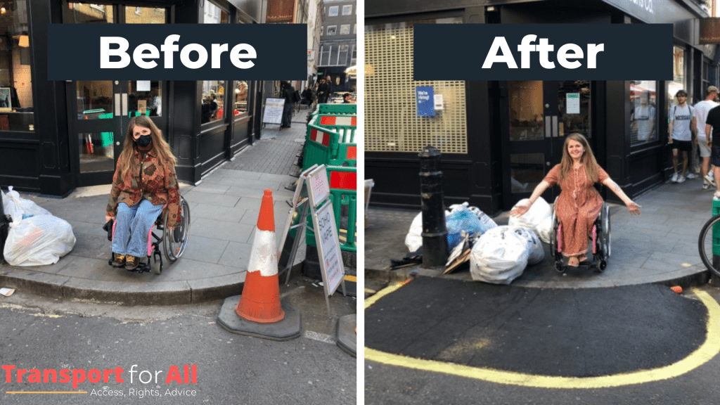 A before and after shot of Katie, a wheelchair user, on a pavement in Soho. In the before picture there is no dropped kerb so a large step. In the after picture, an asphalt tarmac ramp has been added.