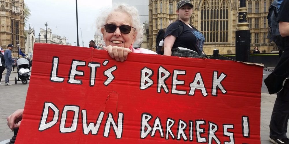 gwynneth with red placard